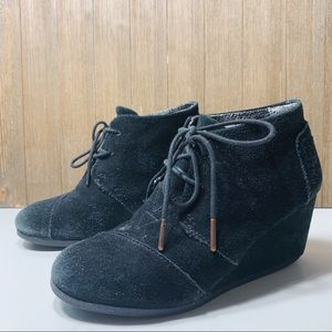 Toms suede lace up wedge booties
